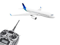 RC plane and radio remote control Royalty Free Stock Images