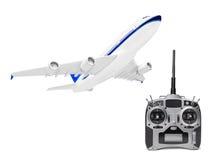 RC plane and radio remote control Stock Photo