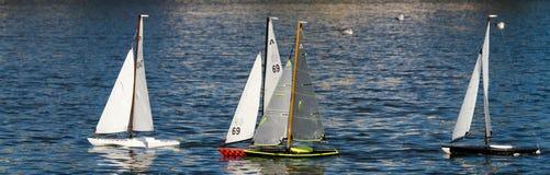 RC Sailboats Racing Royalty Free Stock Images