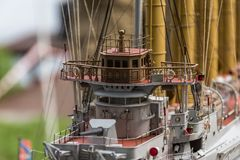Deck equipment on the scale model ship. RC scale model ship at competitions, World Championships class NS NAVIGA 2017, Orneta, Poland stock photos