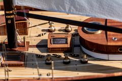 RC scale sailing model ship at competitions. Class NSS, 2018, Konstantynow Lodzki, Poland royalty free stock images