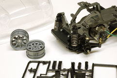 RC Toy Car Parts Assembly. Close-up photo of RC car parts Royalty Free Stock Photography