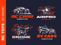RC toys transport logo set - vector illustration, emblem on black background Royalty Free Stock Photo