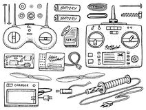 RC transport and instrument, remote control models. toys design elements for emblems. boat or ship and car or machine. Revival radios tuner broadcasting system Stock Photo