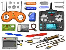 RC transport and instrument, remote control models. toys design elements for emblems. boat or ship and car or machine. Revival radios tuner broadcasting system Stock Images