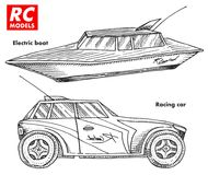 RC transport, remote control models. toys design elements for emblems. boat or ship and car or machine. revival radios. Tuner broadcasting system. Innovative Royalty Free Stock Photography