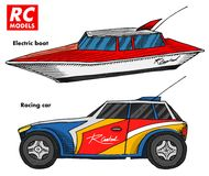 RC transport, remote control models. toys design elements for emblems. boat or ship and car or machine. revival radios. Tuner broadcasting system. Innovative stock illustration