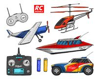 RC transport, remote control models. toys design elements for emblems. boat or ship and car or machine. revival radios. Tuner broadcasting system. Innovative Stock Photo