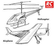 RC transport, remote control models. toys design elements for emblems, icon. helicopter and aircraft or plane. revival. Radios tuner broadcasting system Stock Photography