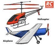 RC transport, remote control models. toys design elements for emblems, icon. helicopter and aircraft or plane. revival. Radios tuner broadcasting system royalty free illustration