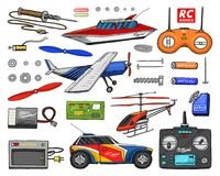 RC transport, remote control models. toys or instruments. set details. devices, equipment, tools for service and. Technical repair. boat or ship, technologies Royalty Free Stock Image