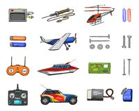 RC transport, remote control models. toys or instruments. set details. devices, equipment, tools for service and. Technical repair. boat or ship, technologies Stock Images