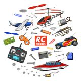 RC transport, remote control models. toys or instruments. set details. devices, equipment, tools for service and vector illustration