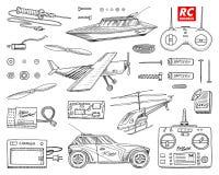 RC vervoer, afstandsbedieningmodellen speelgoed of instrumenten vastgestelde details apparaten, materiaal, hulpmiddelen voor de d royalty-vrije illustratie