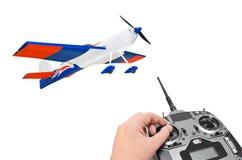 RC vliegtuig en radioafstandsbediening Stock Foto's
