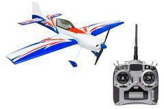 RC vliegtuig en radioafstandsbediening Royalty-vrije Stock Afbeeldingen