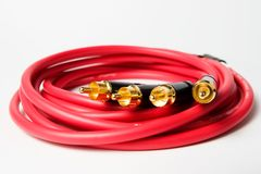 音频电缆rca集合立体音响 免版税库存照片