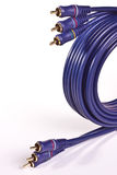 RCA Audio video cable. Coiled and tied Stock Photos