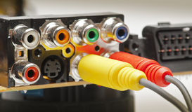 Rca connections. Mounted on an electronic board video royalty free stock photo