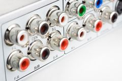 RCA connections of a DVD player Stock Photos