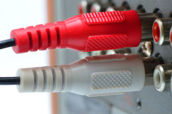RCA jack. RCA connector red white in radio engineering Royalty Free Stock Photo