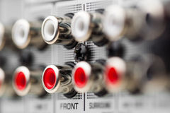 RCA sockets of audio surround receiver. Amplifier Royalty Free Stock Photos