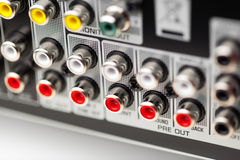 RCA sockets of audio surround receiver. Amplifier Stock Photo
