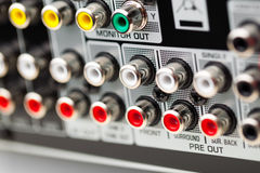 RCA sockets of audio surround receiver Royalty Free Stock Photography