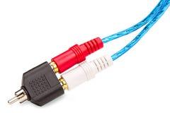 RCA stålaradapter med kabel Arkivbilder