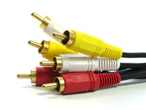 RCA-style A/V cables. Plug Royalty Free Stock Photography
