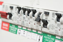 An RCD Circuit Breaker Switch displays OFF for Lights Royalty Free Stock Image
