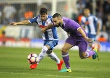 RCD Espanyol和Dani皇马卡瓦哈尔的柏保路・皮亚堤  免版税库存照片