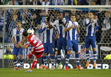 RCD Espanyol players on the wall of the free kick. Launched by UD Almeria during a Spanish League match at the Estadi Cornella on April 27, 2014 in Barcelona Stock Photos