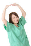 - ręce znaku odizolowana biała kobieta Zdjęcia Royalty Free