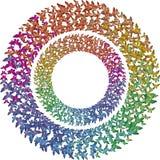 2 rcircles пестротканых бабочек радуги Стоковое фото RF