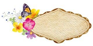 Räcka den målade mallen för vattenfärgmodellclipart av lösa blommor Fotografering för Bildbyråer