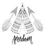 Räcka den utdragna amerikanska infödda vigvammet med den etniska dekorativa beståndsdelen Royaltyfri Fotografi