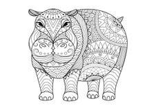 Räcka den utdragna zentangleflodhästen för färgläggningboken för vuxen människa, tatuering, skjortadesign och andra garneringar Fotografering för Bildbyråer