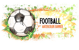 Räcka det utdragna vektorgrungebanret med fotbollbollen och färgstänk Arkivfoto