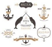 Räcka utdragna mallar för bröllopinbjudanlogoen i nautisk stil Arkivbilder