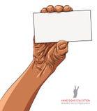 Räcka visningaffärskortet, afrikansk etnicitet som specificeras Royaltyfri Bild