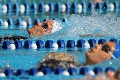 Rückenschwimmenfrauen: Alpe Adria Sommer-Spiele 2010 Stockbilder