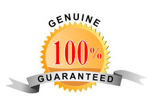 Rückseitige Garantie 100% des Dichtungsgeldes Stockbild