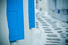 Rückseitige Straße, Mykonos, Griechenland. Stockfotografie