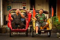 Rckshaw drivers of Yogyakarta, Indonesia Stock Photography