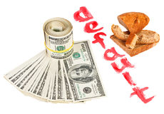 Rückstellung des USA-Dollarbargeld-Konzeptfotos Stockfoto