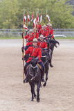 RCMP Musical Ride in Ancaster, Ontario. Our proud RCMP performing their Musical Ride performance at the Ancaster Fairgrounds at 630 Trinity Road in Ancaster Stock Photo