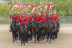 RCMP Musical Ride in Ancaster, Ontario. Our proud RCMP performing their Musical Ride performance at the Ancaster Fairgrounds at 630 Trinity Road in Ancaster Royalty Free Stock Images