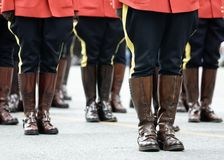 RCMP Parade scene. Royal Canadian Mounted Police stand at attention in parade stock photography