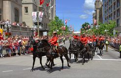 RCMP riding in Canada Day, Ottawa. RCMP riding in 2011 Canada Day, Ottawa, Ontario Royalty Free Stock Image